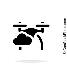 Quadcopter in sky simple icon on white background.