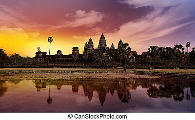 sunset at Angkor - temple of angkor in cambodia at sunset
