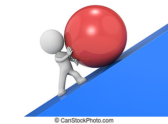 Determination. - The dude 3D character, a large red ball and...
