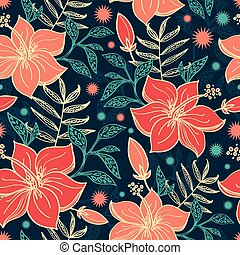 Vector Vibrant Tropical Hibiscus Flowers Seamless Pattern...