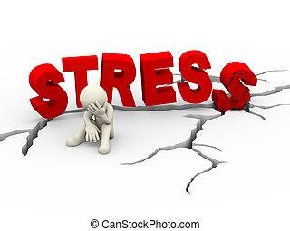 3d sad upset man cracked word stress