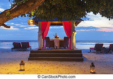 Romantic sunset dinner at the beach - Romantic dinner...