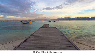 View of Lombok from Gili T - Sunset on Gili Trawangan Island...
