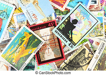 Postage stamps - Diverse and colorful postage stamps from...