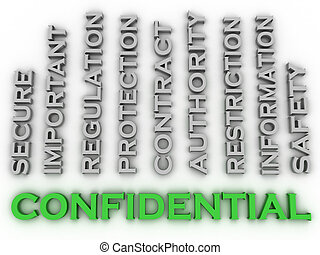3d image confidential  issues concept word cloud background