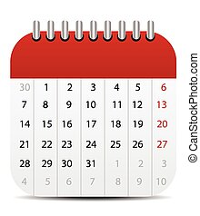 Calendar Icon Isolated on White Mobile Style Editable