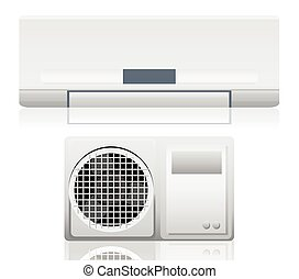 Air conditioner system on white wall