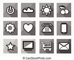 Set Of 18 Flat Style Modern Communication and Media Icons Black and White