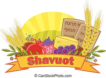 Shavuot Banner With Background - Shavuot festive banner with...