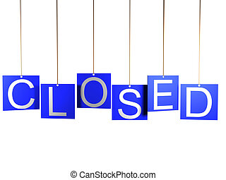 3d shop sign closed on white background