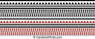 Red and Black Maori - Polynesian Bracelete Tatto Pattern on...