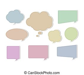 Soft Color Flat Speech Bubbles on Various Shape and Forms