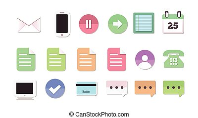 Set Of 18 Flat Style Communication and Media Icons
