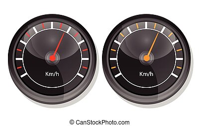 speedometers - dashboard. isolated on white