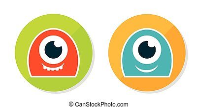 Set of two cute sticker monsters