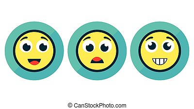 Set of Three Emotion Stickers Isolated on White