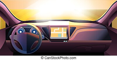 Dashboard - car interior, made with bright color gradients