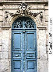 Blue door - Old door in Versailles, France. French town.