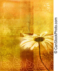 Old wall autumnal background with daisy and doodles