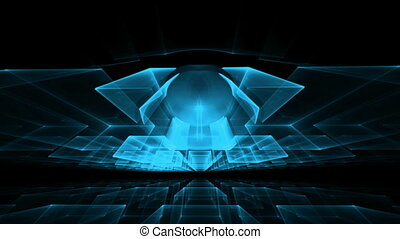 Blue Cubes Rotating in Perspective - blue cubic horizon,...