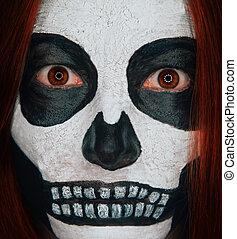 Scary skull woman - Portrait of scary skull woman with...