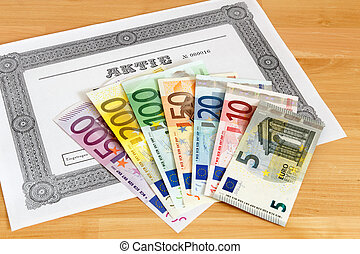 Share with Euro banknotes - Share with fanned out Euro...