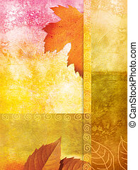 Old wall background with autumnal leaves and stains