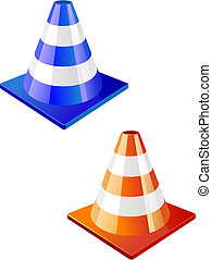 Traffic cone icon in two colors for design