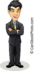 Boss with Folded Arms Cartoon - Boss with Folded Arms...