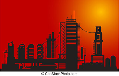 Chemical factory - Silhouette of chemical factory on sunset...