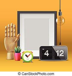 Workspace mock up with frame, vector illustration.