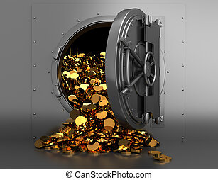 treasury - 3d illustration of opened bank treasury full of...