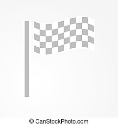 checkered racing flag - waving checkered racing flag on gray...