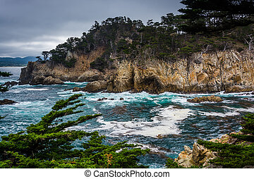 View of rocky cliffs above the Pacific Ocean at Point Lobos...