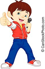 young boy singer thumb up - illustration of young boy singer...