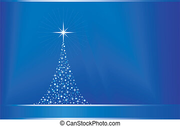 Abstract blue vector Christmas tree with copy-space