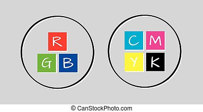rgb and cmyk icons on gray background