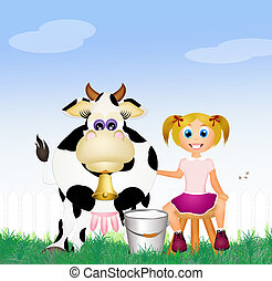 child milking a cow - illustration of child milking a cow
