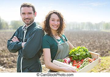 granjero, equipo, en, trabajo, en, Un, campo,