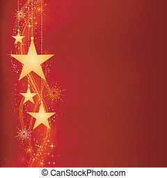 Red golden Christmas background - Festive dark red Christmas...
