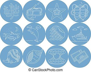 Underwater blue round vector icons
