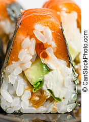 Japanese rolls with salmon close-up shot