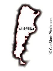 Argentina - Outline blank map of the South American country...