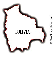 Bolivia - Outline blank map of the South American country of...