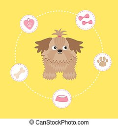 Little glamour tan Shih Tzu and dog stuff Dash line circle...