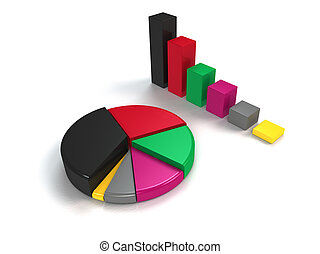 colorful bar graph and pie chart - glossy colorful bar graph...