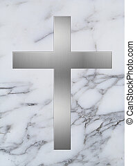 silver cross and white marble background