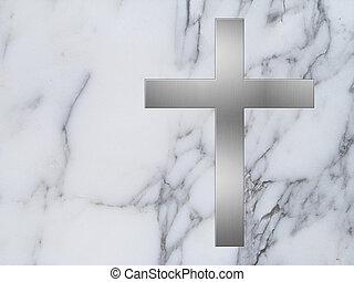 métal, croix, et, blanc, marbre, fond,