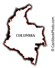 Columbia - Outline blank map of the South American country...