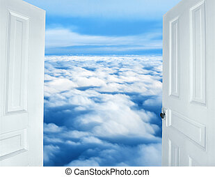 Doors opening to a heavenly sight of fluffy white clouds.